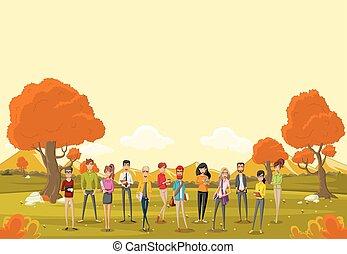 グループ, ビジネス 人々, 木。, 公園, オレンジ, 草, 漫画