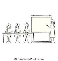 グループ, ビジネス 人々, 経営者, ぼんやりさせられた, 女性, 机, シルエット, モデル, presentacion, 女性