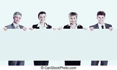 グループ, ビジネス, 人々。, 若い, 大きい, 背景, 微笑, 白