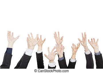 グループ, ビジネス 人々, 隔離された, の上, 手, 白