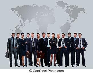 グループ, ビジネス, 人々。, 隔離された, 大きい, 白, 上に