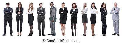 グループ, ビジネス, 人々。, 隔離された, 大きい, white., 上に