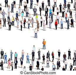 グループ, ビジネス, 人々。, 隔離された, 背景, 白, 上に