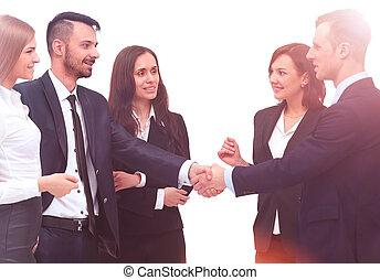 グループ, ビジネス 人々, 隔離された, 若い, バックグラウンド。, 微笑, 白
