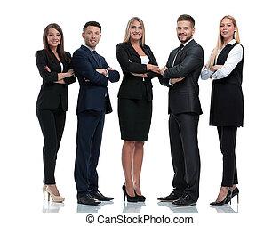 グループ, ビジネス 人々, 隔離された, white., 丈いっぱいに, 肖像画