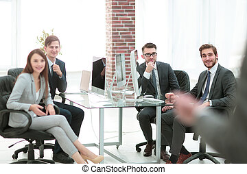グループ, ビジネス 人々, offic, 背景, ミーティング