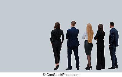 グループ, ビジネス, 背中, 隔離された, バックグラウンド。, team., 白, 光景