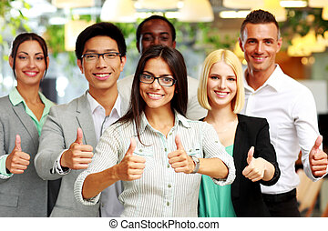 グループ, ビジネス, 諦める, 親指, 幸せ