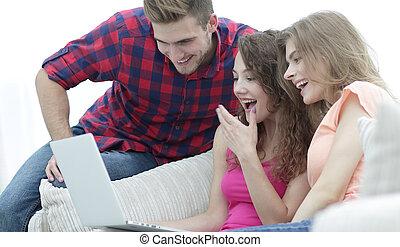 グループ, ビデオ, 人々, 監視, laptop., 若い