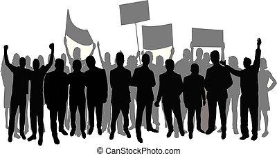グループ, ベクトル, シルエット, 抗議者
