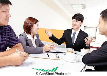 グループ, ミーティング, ビジネス 人々