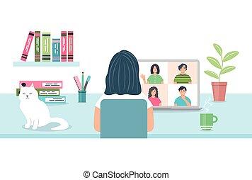 グループ, リモート, meeting., ベクトル, ビデオ, オンラインで, training., 事実上, 仕事, コンピュータ協議, 女, 特徴, 使うこと, concept., friends., ∥あるいは∥, コミュニケーション, 女性, 談笑する