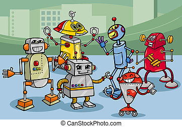 グループ, ロボット, イラスト, 漫画