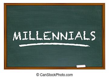 グループ, 世代, demo, イラスト, チョーク, millennials, 板, y, 単語, 3d