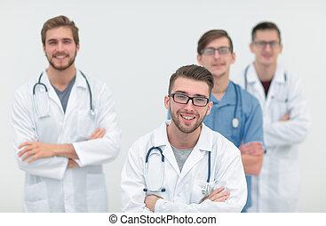 グループ, 中心, 医学, .isolated, 医者, 白
