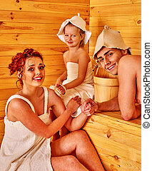 グループ, 人々が中にいる, 帽子, ∥において∥, sauna.