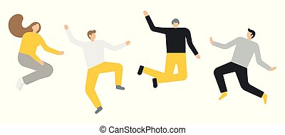 グループ, 人々の跳躍は, 背景, 白, 幸せ