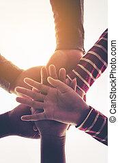 グループ, 人々, -, の上, 若い, 手, 終わり