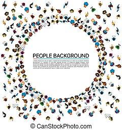 グループ, 人々, イラスト, 大きい, 形, ベクトル, circle.