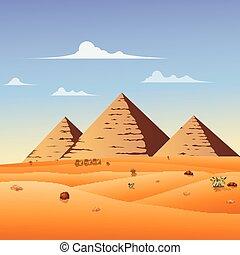 グループ, 人々, キャラバン, アラビア人, 行く, によって, ラクダ, 砂漠