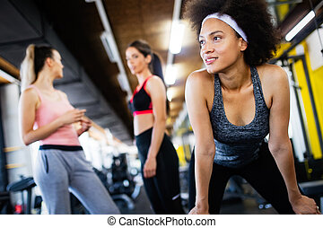 グループ, 人々, クラブ, 若い, フィットネス, 練習