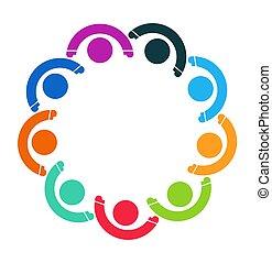 グループ, 人々, シンボル, 人, 9, チームワーク, logo.