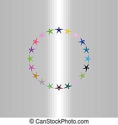 グループ, 人々, シンボル, 印, ベクトル, 手を持つ, ロゴ, 円