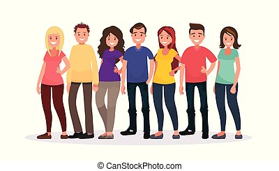 グループ, 人々, バックグラウンド。, 白, 幸せ, ふだん着