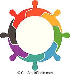 グループ, 人々, 一緒に, 他, 抱き合う, それぞれ