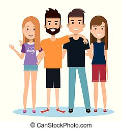 グループ, 人々, 一緒に, 背景, 白, 幸せ, 友人, ふだん着