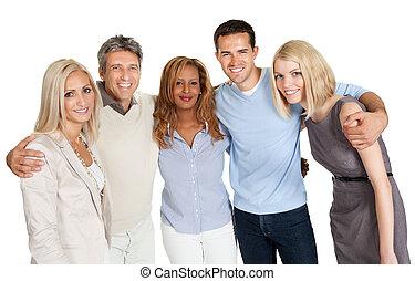グループ, 人々, 上に, 隔離された, 微笑, 白, 幸せ