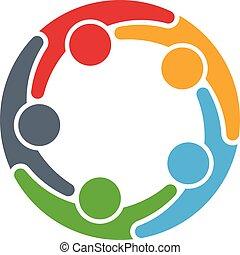 グループ, 人々, 人, 5, 円, logo.