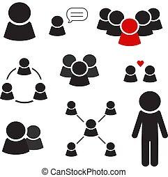 グループ, 人々, 仕事, ベクトル, 黒, チーム, アイコン