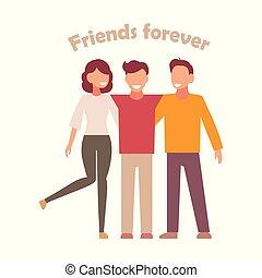 グループ, 人々, 単純である, イラスト, hugs., ベクトル, 背景, 白, 友人, style.