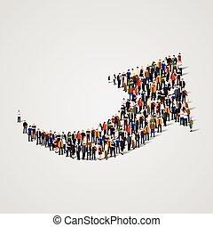 グループ, 人々, 形。, 大きい, ベクトル, 矢
