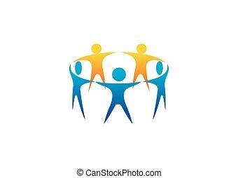 グループ, 人々, 手, ベクトル, チームワーク, 保有物, ロゴ, 円