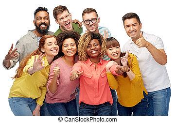 グループ, 人々, 提示, の上, 親指, インターナショナル