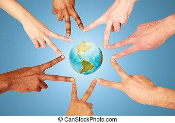 グループ, 人々, 提示, ピースサイン, インターナショナル