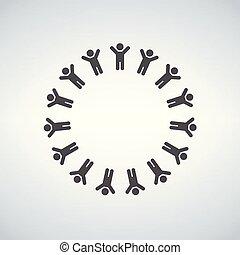 グループ, 人々, 現代, 隔離された, イラスト, 大きい, バックグラウンド。, 形, ベクトル, 円