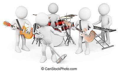 グループ, 人々。, 生の音楽, 白, 遊び, 3d