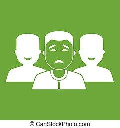 グループ, 人々, 緑, アイコン