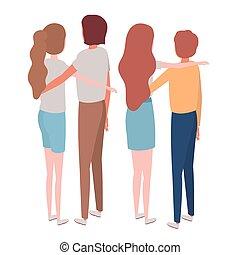 グループ, 人々, 背中, 背景, ポジション, 白