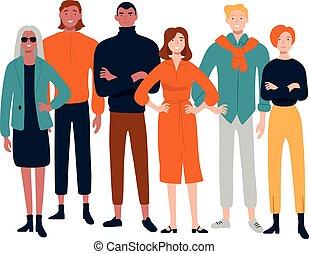 グループ, 人々, 若い, 一緒に, 多様, 肖像画