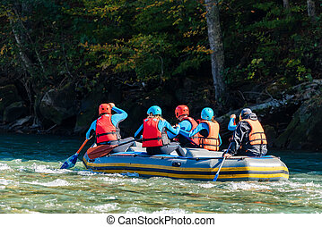 グループ, 人々, 若い, 水, 行く, 白, いかだで運ぶこと