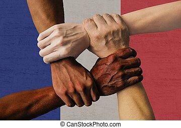 グループ, 人々, 隔離された, multicultural, 若い, 統合, 旗, 多様性, フランス