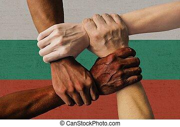 グループ, 人々, 隔離された, multicultural, 若い, 統合, 旗, 多様性, ブルガリア