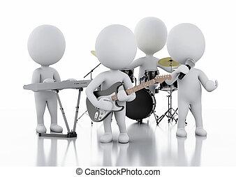 グループ, 人々。, 音楽, 背景, 白, 3d