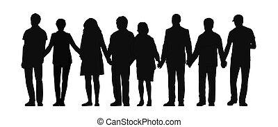 グループ, 人々, 3, 手を持つ, シルエット