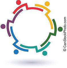 グループ, 人々, 6, 助力, チームワーク, interlaced.concept, それぞれ, 接続される, 円, other.vector, アイコン