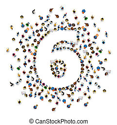 グループ, 人々, 6, 数, form., 大きい, 6